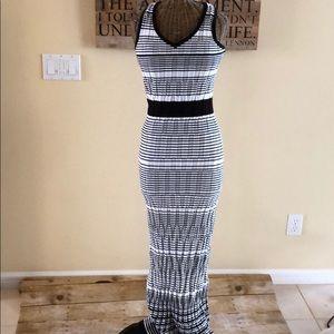 LOFT Black White Stretch Dress Maxi XS/S Tall